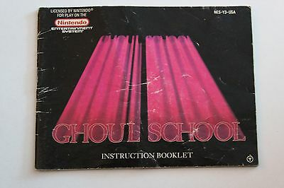 Ghoul School Manual, Instruction Book, NES, Nintendo.