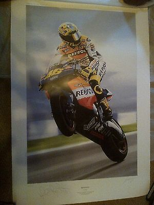 "Signed Valentino Rossi ""Rossi Style"" Donington 2002 print by Sue Worthy"