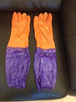pvc long fishing carp pier sea rubber gloves 50cm ultimate grip and safety