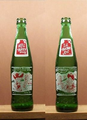 Hill Billy Brew Lil Brown Jug 10 ounce ACL Soda Pop Green Bottle Hillbilly 164