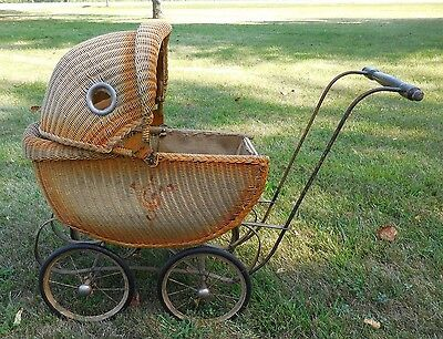 Vintage Antique Doll Buggy-Wicker/Rattan, Doll & Handmade Blanket - NICE
