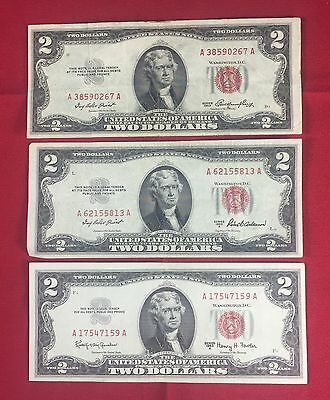 Lot of 3 $2 Red Seal US United States Note Collection 1953 1953-A 1963-A MP160
