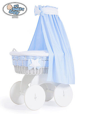 My Sweet Baby - Isabella Drape White Wicker Crib Moses Basket - Blue