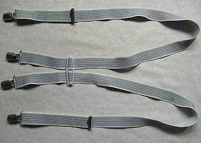 VINTAGE 30mm SKINHEAD SKA CLIP ON BRACES 1970s ONE SIZE MENS GREY BLACK STRIPED