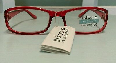 Women Men Red Rectangular Frame Reading Glasses +1.50 Strength