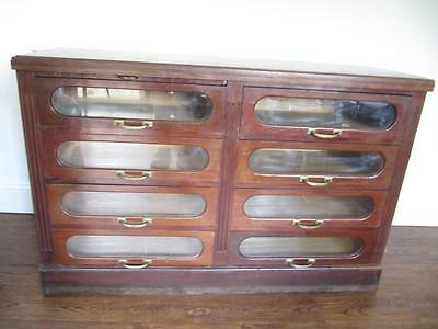 Vintage Antique Edwardian Haberdashery Shop Chest Of Large Drawers Mahogany