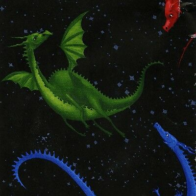 Blue Red Green Yellow Dragons on Black By The yard cotton print Fabric