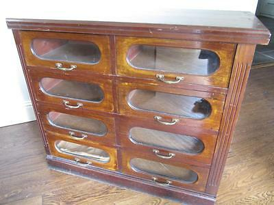 Vintage Antique Edwardian Haberdashery Shop Chest Of Medium Drawers Mahogany