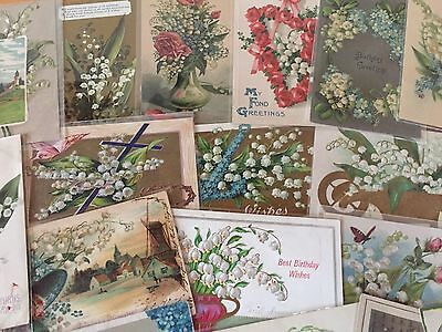 ~20 NICE LILY OF THE VALLEY Flowers Greetings Postcards Lot-Vintage~b-5