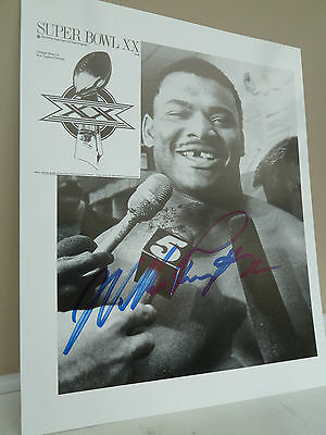"SUPER BOWL XX - WILLIAM ""The Fridge"" PERRY signed 10x8 - B/W - EXCELLENT"