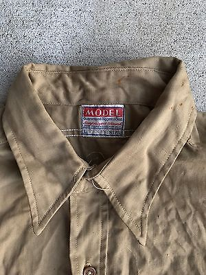 VTG 1940's MODEL BRAND SANFORIZED WORK SHIRT GUSSETS KHAKI COTTON SIZE 16.5