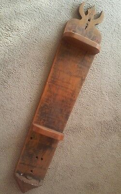Primitive Antique Architectural Remnant Wood Wall Hanging w 2 Vintage Shelves
