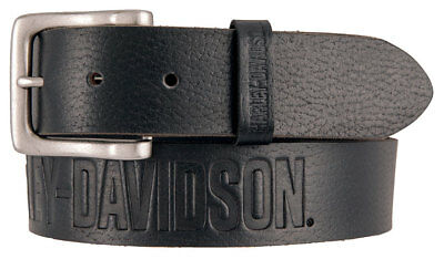 Harley-Davidson Men's Embossed Ride The Line Leather Belt, Black HDMBT11331-BLK