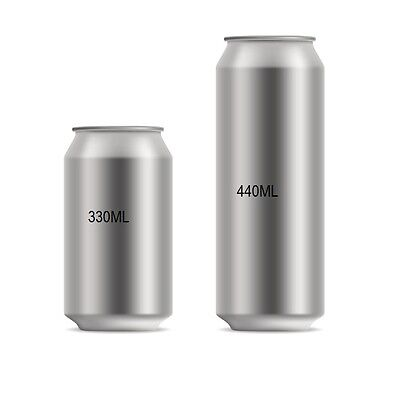 New Aluminium Beer Drinks Cans 53mm x 440ml With Lids