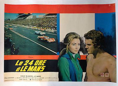 LE MANS 1971 Italian Photobusta Original Movie Poster Steve Mcqueen Motor Racing