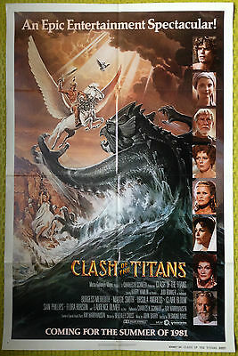 CLASH OF THE TITANS 1981 Original US One Sheet Movie Film Poster The Kraken