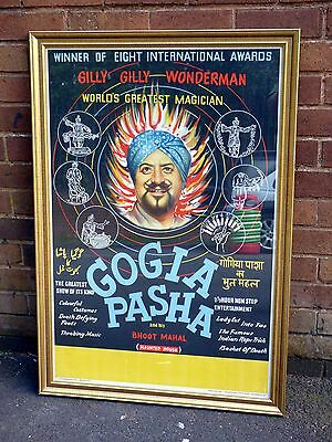 A NICE GOGIA PASHA WORLDS GREATEST MAGICIAN WALL POSTER SET IN FRAME c1960
