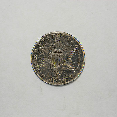 1857 THREE CENT 3c SILVER PIECE