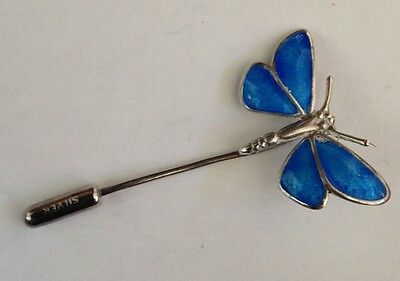 Sterling Silver And Blue Enamel Butterfly Brooch Pin