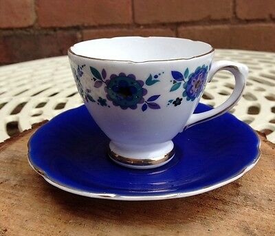2 Vintage Floral Blue and White Royal Sutherland Tea Cups and Saucers