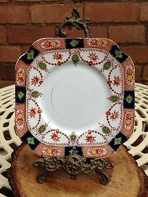 Set of 10 Ten Vintage Osborne China Imari Style Fruit Pattern Square Side Plates