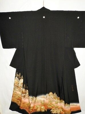 Japanese Tomesode/Wedding Kimono/Coat/Robe Black Silk Crepe 'Samurai Castle' MED