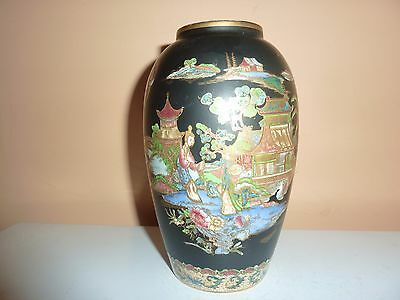 Carlton Ware Black Background 15.6Cmhigh Vase With Gilt/coloured Chinese Pattern