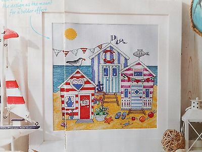 Beach Huts, Colourful Seaside Holiday Scene Cross Stitch Chart