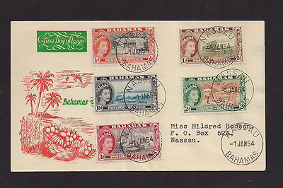 Bahamas FDC 1954 Geen and orange cachet