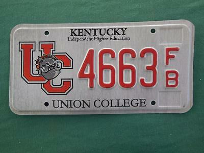 2009 Kentucky 4663-Fb Union College License Plate Independent Higher Education