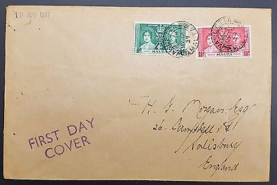 Malta 1937, 2 x Coronation Vals on Cover, Valletta to Salisbury, 2d Rate FDC