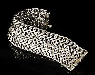 wide vintage Mexican silver mesh Bracelet classic Taxco woven chain mail design