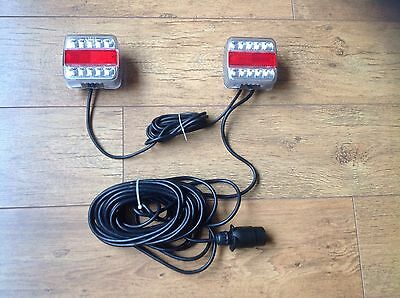 Magnetic LED Trailer Towing Lightboard Lights Rear Tail Lamps 10m Cable Tractor