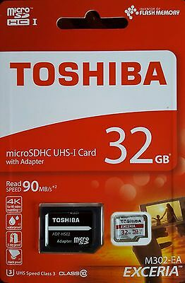 TOSHIBA MICRO SD SDHC MEMORY CARD UHS-1 CLASS 10 - 32GB - 90MB/s