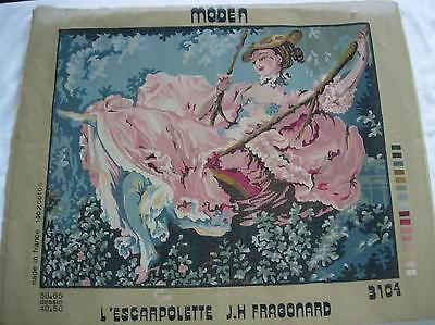 "Lady On A Swing French Penelope Needlepoint Canvas 16"" x 20"""
