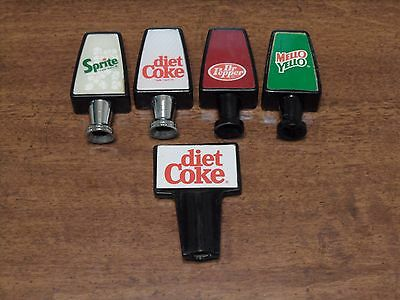 Vintage Dr Pepper & Mellow Yellow Soda Fountain Head Taps Machine Parts Lot of 5
