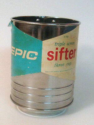 Epic Flour Sifter Triple Screen Three Cup Ekco 1962 Vintage