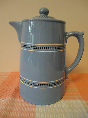 Pretty Vintage Gibsons Blue Stoneware Coffee / Chocolate Pot 17cm
