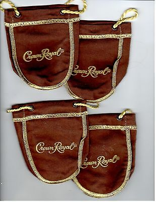 "CROWN ROYAL MAPLE BAGS~(2)~Mini Drawstring~Brown  Gold~4"" By 4&1/2"""