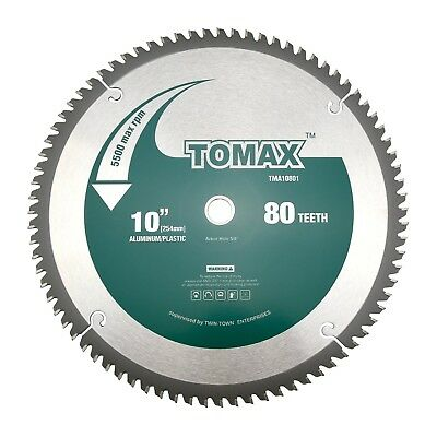 TOMAX 10-Inch 80 Tooth TCG Aluminum and Non-Ferrous Metal Saw Blade with 5/8-...