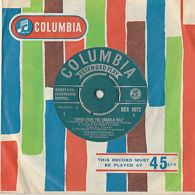"7"" 1960 Vinyl Record - Songs From The Emerald Isle - Columbia Seg 8072"
