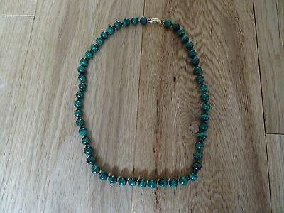 Vintage Green Natural Malachite Necklace 9k Gold clasp