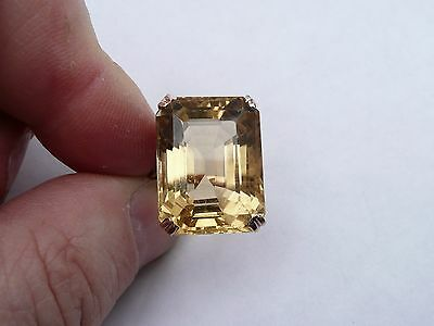 Ladies Vintage Heavy Solid 14Ct Rose Gold Large 20Ct Citrine Ring Size L 16.4 Mm