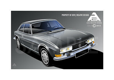 Peugeot 504 Coupe V6 A3 Poster Illustration