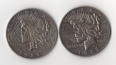 1922 Peace Dollar Two Face Hobo Nickel Style Novelty Skull Zombie Coin Type 2