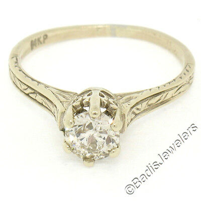 Antique Art Deco Etched 14k Gold 0.60ct Euro Diamond Solitaire Engagement Ring
