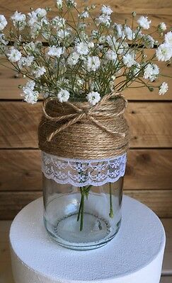 5 X Glass Jars Vintage Vases Wedding Centrepiece Shabby Chic Hessian Lace Twine