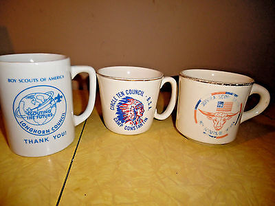 Vintage Boy Scouts Coffee Cups Set Of Three