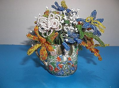 Vintage French Glass Beaded Flowers In Japanese Porcelain Demitasse Cup