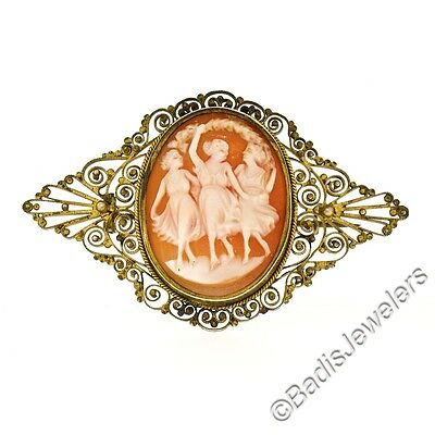 Antique Victorian Gold Filled Filigree Open Work Detailed Cameo Pin Brooch
